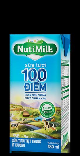 NutiMilk Sữa tươi 100 điểm Ít đường