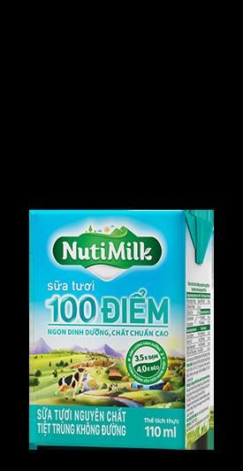 NutiMilk Sữa tươi 100 điểm Nguyên chất Không đường