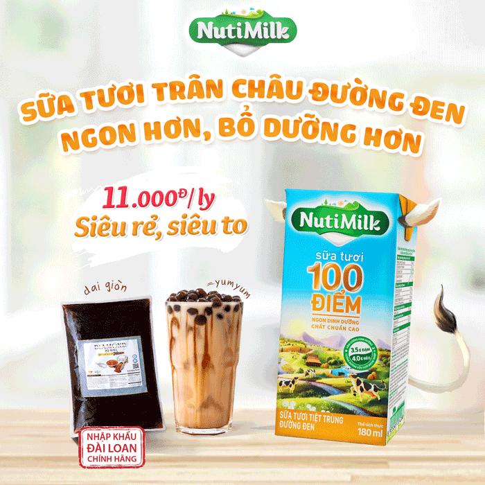 Combo NutiMilk Sữa tươi đường đen và Trân châu